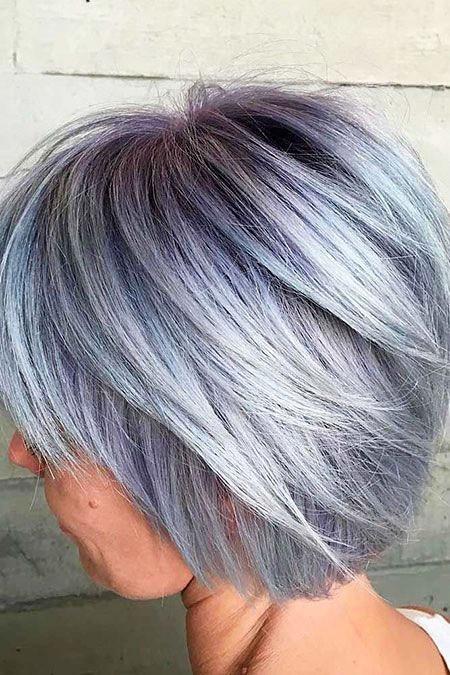 Cute-Grey-Hair New Short Layered Hairstyles 2018