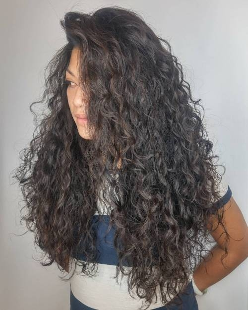 Espresso-Brown-Curly-Permed-Hairstyle Impressive Haircuts and Hairstyles for Long Dark Brown Hair