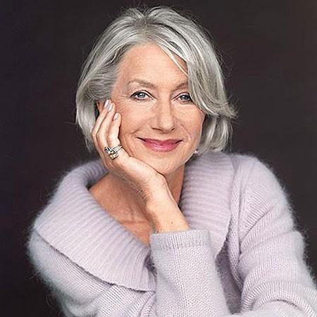 Grey-Layered-Hair Short Bob Haircuts for Older Women