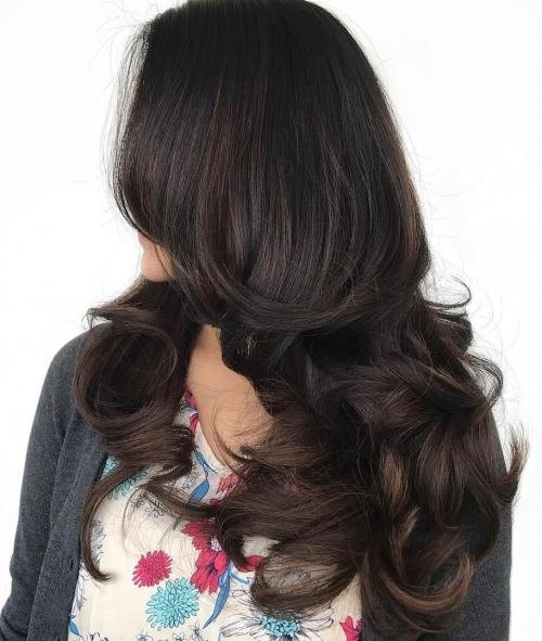 Long-Layered-Hair-with-Midshaft-to-End-Curls Impressive Haircuts and Hairstyles for Long Dark Brown Hair