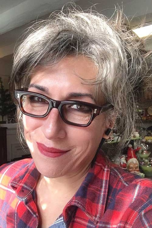Messy-Short-Hair Short Haircuts for Older Women 2018-2019