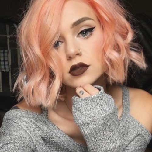 Pinky-Peach-Hair Remarkable Pics of Trendy Short Hairstyles for Women