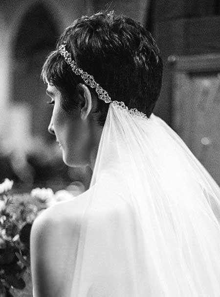 Really-Short-Dark-Hair Short Hair Wedding Styles