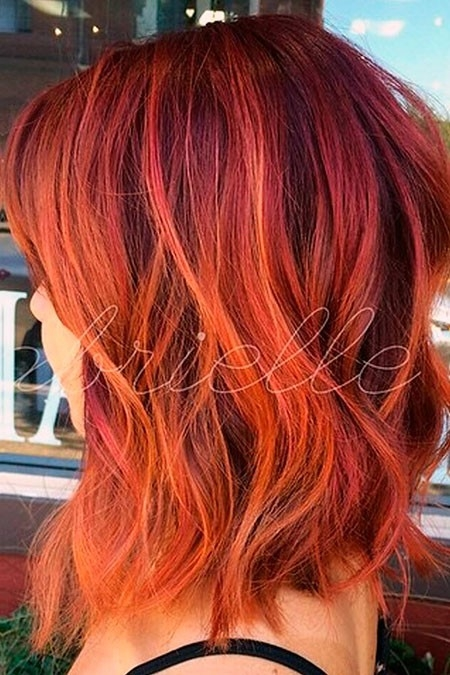 Red-Hair-with-Orange-Highlights Short Red Hair Color Ideas