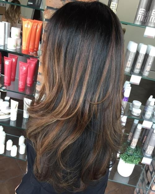 Two-Tier-Length-and-Warm-Brown-Balayage Impressive Haircuts and Hairstyles for Long Dark Brown Hair