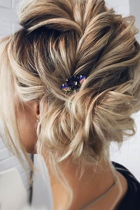 Updo-Hair-with-an-Accessory Updo Hairstyles for Short Hair
