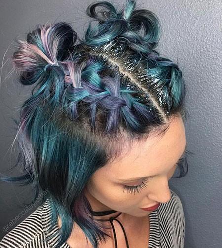 Amazingly-Braided-Buns Best Short Blue Hair