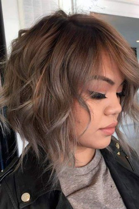 Ash-Brown-Hair-Color-Short-Hair Short Layered Wavy Hairstyles