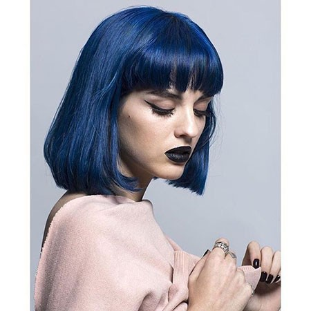 Bob-Haircut-with-Fringe Best Short Blue Hair