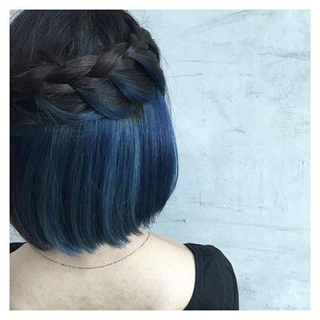 Braided-Hairstyle Best Short Blue Hair