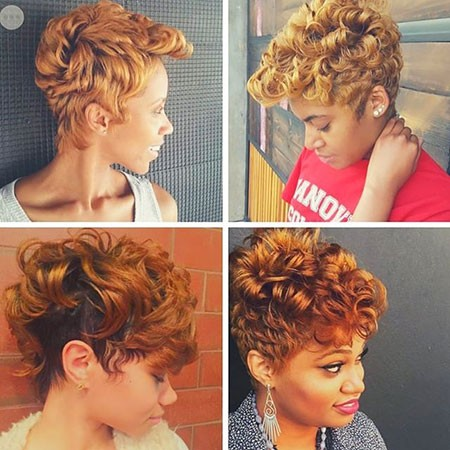 Golden-Blonde-Hair Best Short Hairstyles for Black Women