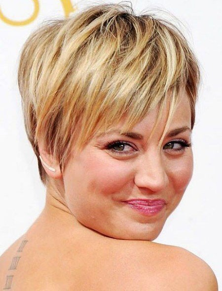 Long-Blonde-Pixie Short Hairstyles for Chubby Faces