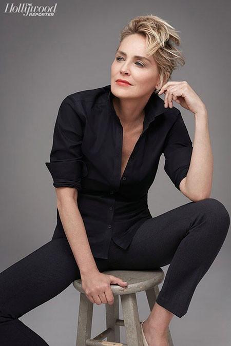 Messy-Hair New Sharon Stone Short Hairstyles
