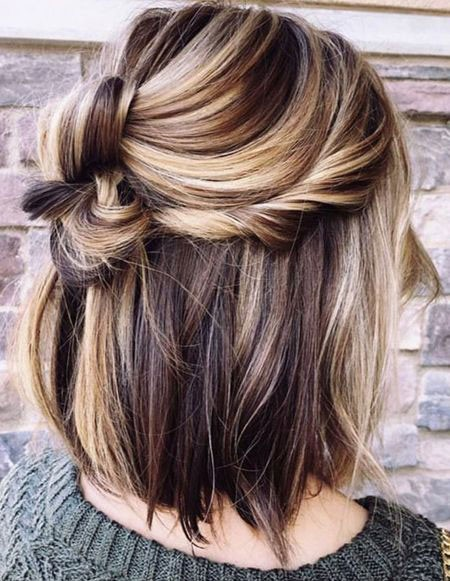 Nice-Half-Updo-with-Blonde-Highlights Best Short Hair Color Ideas