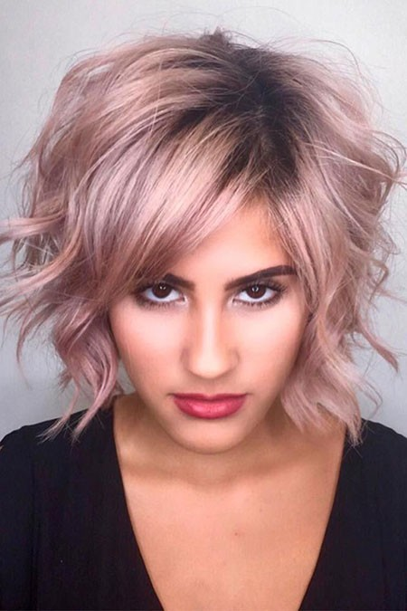 Pink-Hair-Color-1 Short Layered Wavy Hairstyles
