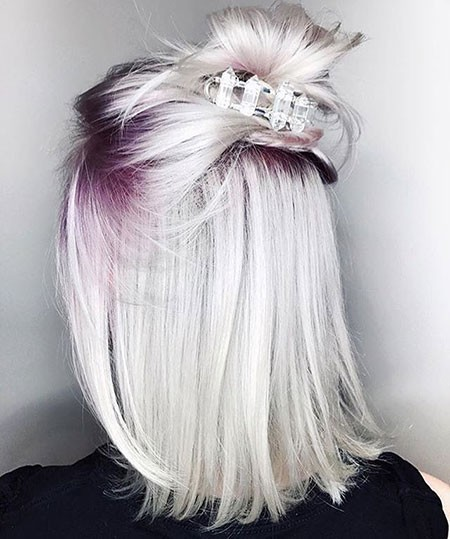 Purple-Roots-Silver-Hair Best Short Hair Color Ideas