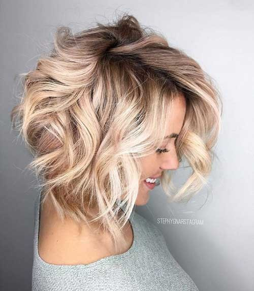 Short-Hair-Blonde-Balayage Latest Bob Haircuts for 2018