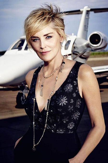 Short-Hair-with-Bangs New Sharon Stone Short Hairstyles