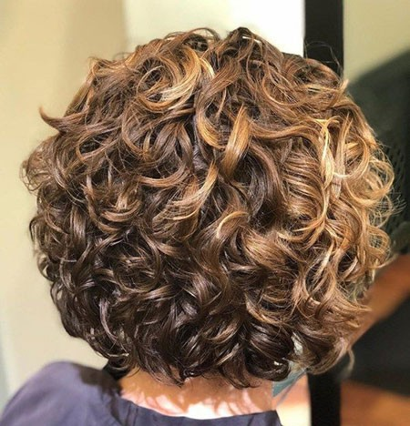 Stacked-Spiral-Perm-Short-Hair Short Natural Curly Hairstyles