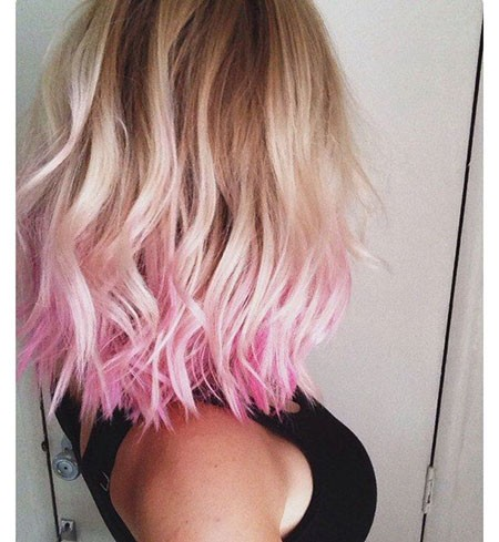 Wavy-Hair-with-Pink-Ends Best Short Hair Color Ideas