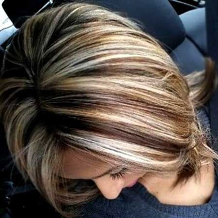 Blonde-and-Brown-Highlights New Short Hair with Color