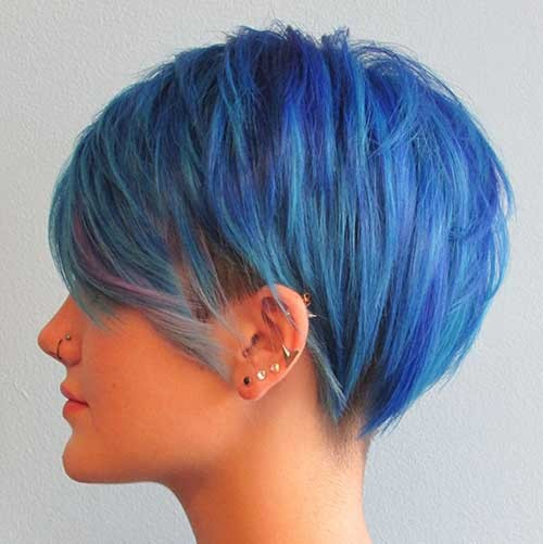 Blue-Pixie-Bob-Haircut Best Short Pixie Cuts