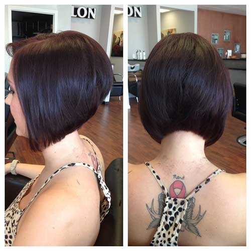 Chic-Short-Stacked-Diagonal-Forward-Haircut Short Stacked Bob Hairstyles