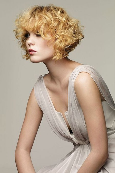 Curly-Hair-with-Fringe Short Curly Blonde Hair Ideas