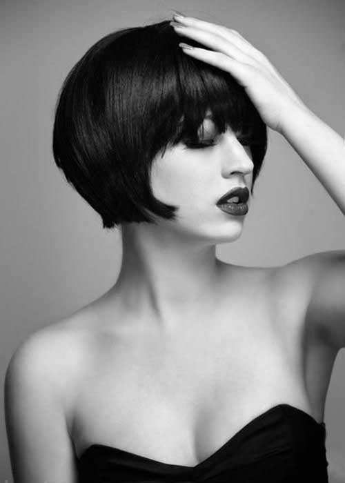 Gorgeous-Thick-Blunt-Bob-Style-with-Bangs Short Stacked Bob Hairstyles