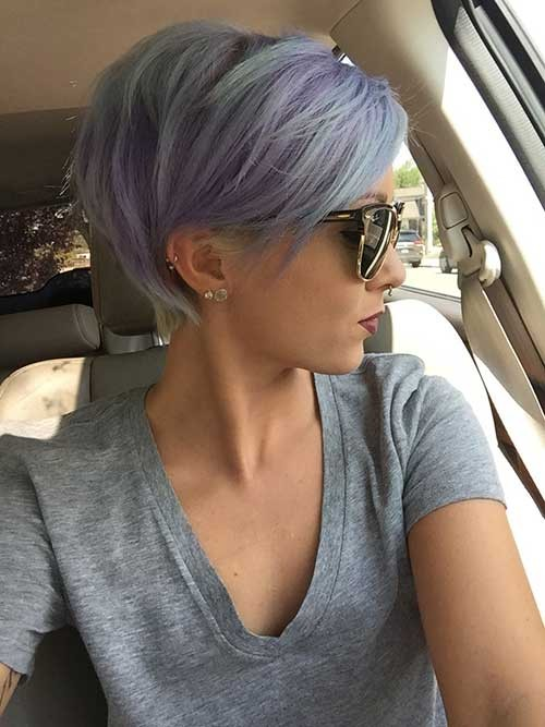 Pastel-Dyed-Pixie-Hairstyle Best Short Pixie Cuts