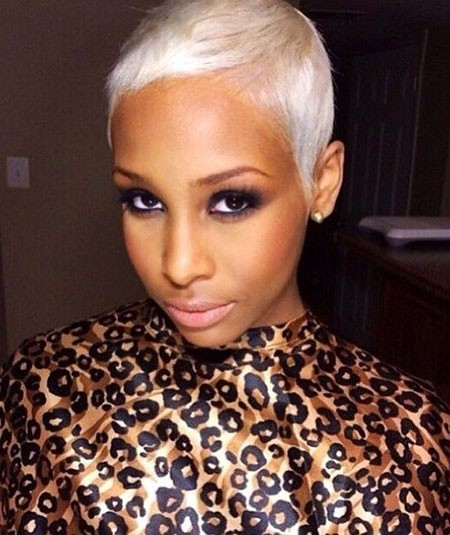 Platinum-Blonde-Hair Short Hairstyles for Black Women 2018