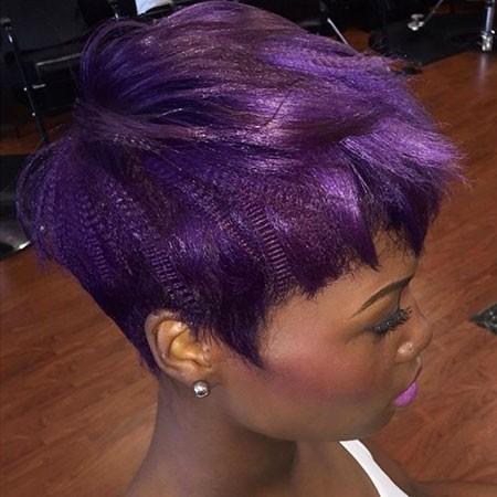 Purple-Pixie-Cut Short Hairstyles for Black Women 2018
