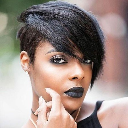 Short-Hair-with-Bangs-2 Short Hairstyles for Black Women 2018