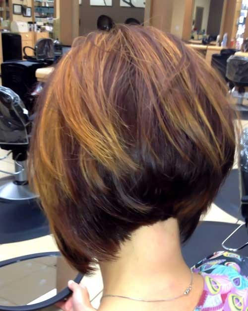 Stacked-A-Line-Bob-Hairstyle-with-Highlights Short Stacked Bob Hairstyles
