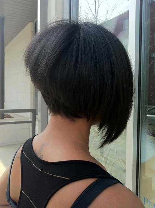 Stacked-Asymmetrical-Dark-Bob-Style Short Stacked Bob Hairstyles