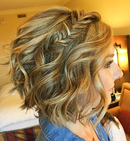 Wavy-Bob-with-Braid Nice Updos for Short Hair
