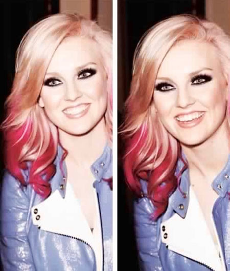 22-Perrie-Edwards-620 Blonde And Pink Ombre Hair