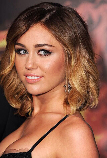 Golden-Celebrity-Look Amazing Short Ombre Hairstyles
