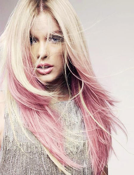 Pastel-Color Blonde And Pink Ombre Hair