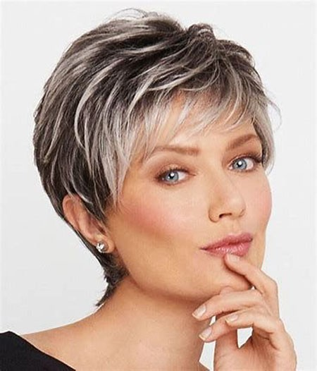 Platinum-Highlights-with-Bangs Short Hairstyles for Women Over 50