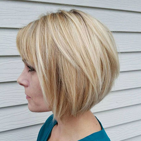 Platinum-Inverted-Bob-with-Bangs Best Layered Bob Hairstyles