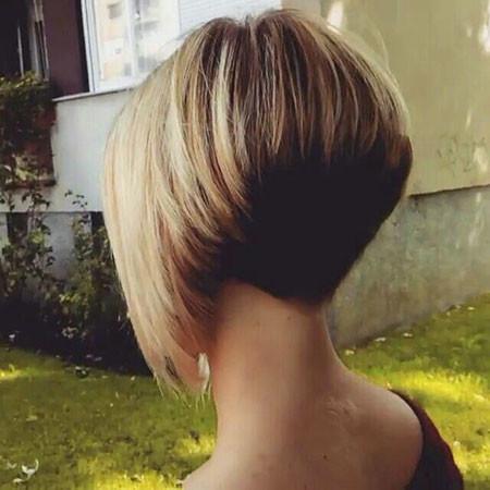 Rear-Cropped-Dark-Tress-Long-Side-Blonde Trendy Short Haircuts for Women