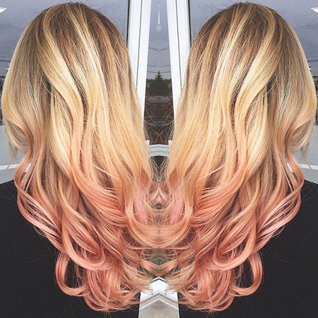 Rose-Gold-Ombre Blonde And Pink Ombre Hair