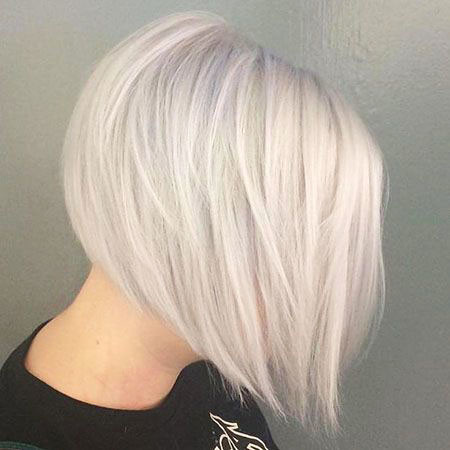 Round-Shaped-Angled-Bob Best Short White Blonde Hair