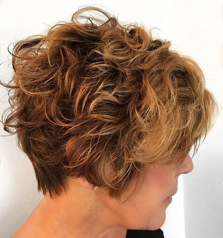 Shag-Brunette-Haircut Chic Short Curly Hairstyles for Women