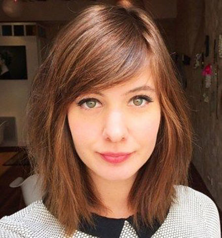 Side-Swept-Bangs New Short to Medium Hairstyles with Bangs