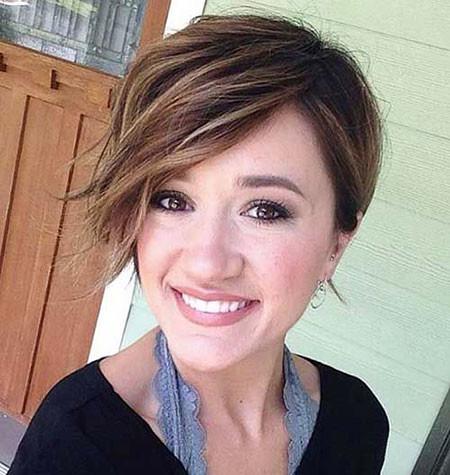 Side-Swept-Long-Bangs Trendy Short Haircuts for Women