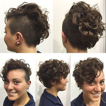 Side-and-Back-Shaved-Undercut Chic Short Curly Hairstyles for Women