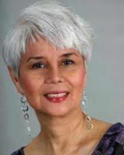 Sided-Grey-Color-with-Pixie-Cut Short Pixie Hairstyles for Older Women