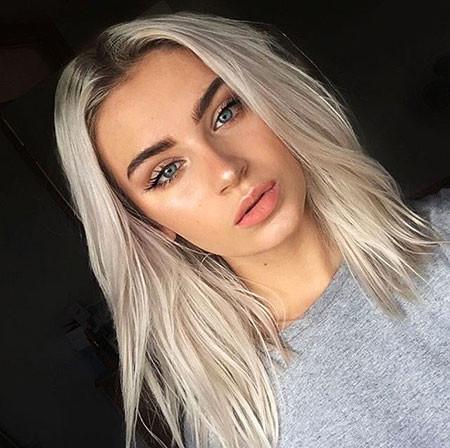 White-Blonde-with-Dark-Roots Best Short White Blonde Hair